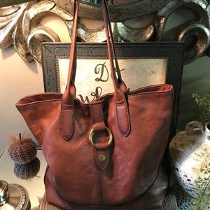 FRYE Round Ring Large TERRA Color Leather TOTE BAG
